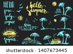 hand drawn colored chalk summer ... | Shutterstock .eps vector #1407673445