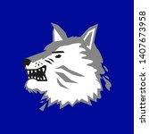 wolf head on blue background   Shutterstock .eps vector #1407673958