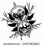 hourglass. black and white hand ...   Shutterstock .eps vector #1407682862