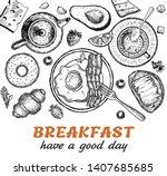 breakfast top view frame.... | Shutterstock .eps vector #1407685685