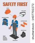 work safety. isometric... | Shutterstock .eps vector #1407702272
