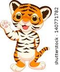 cute baby tiger cartoon waving | Shutterstock . vector #140771782
