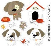 Stock vector set of funny baby dogs and puppy elements like stickers useful for many applications your designs 140771842