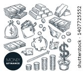money and finance vector sketch ... | Shutterstock .eps vector #1407725552