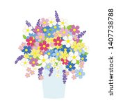 vase of flowers in pastel colors | Shutterstock .eps vector #1407738788