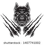 pitbull dog rip claw  surface...   Shutterstock .eps vector #1407741002