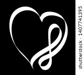hand drawn white infinity heart ...   Shutterstock .eps vector #1407741395