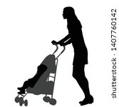 mother walking while pushing a... | Shutterstock .eps vector #1407760142