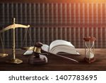 judge's gavel and a book on a... | Shutterstock . vector #1407783695