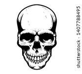 human skull isolated on white...   Shutterstock .eps vector #1407788495