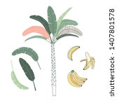 palm tree hand drawn vector... | Shutterstock .eps vector #1407801578