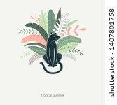 wild jungle hand drawn vector... | Shutterstock .eps vector #1407801758