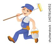 painter running to work with... | Shutterstock .eps vector #1407814052