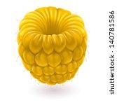 Yellow raspberries. Illustration on white background for design - stock vector