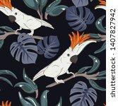 cockatoo parrot pattern.... | Shutterstock .eps vector #1407827942