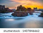 Spokane Falls Sunrise at Riverfront Park