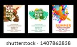 set of colorful summer poster... | Shutterstock .eps vector #1407862838