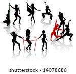 go go girls.silhouettes of... | Shutterstock .eps vector #14078686