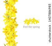 forsythia suspensa frame left... | Shutterstock .eps vector #1407886985