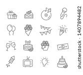 set of party icon. birthday... | Shutterstock .eps vector #1407894482