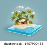 unusual 3d illustration of a... | Shutterstock . vector #1407900455