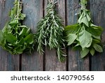 fresh herbs. melissa  rosemary... | Shutterstock . vector #140790565