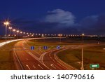ST-PETERSBURG, RUSSIA - SEPTEMBER 17: Ringway St Petersburg, September 17, 2009. The mast lighting on the night road. Electric lights in the night highway. Road lighting lanterns. Russian roads. - stock photo