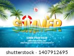 summer sea poster. vector... | Shutterstock .eps vector #1407912695