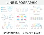 Thin line flat elements for infographic. Template for diagram, graph, presentation and chart. Business concept with 3, 4, 5 and 6 options, parts, steps or processes.