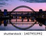 The Tyne Bridge Lit Up At Dusk  ...