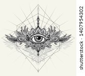 abstract symbol of all seeing... | Shutterstock .eps vector #1407954302