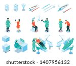 isometric dental care set with... | Shutterstock .eps vector #1407956132