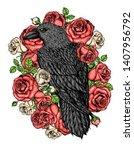 raven and roses flowers hand... | Shutterstock .eps vector #1407956792