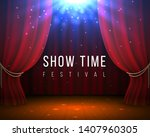 stage with red curtains. closed ... | Shutterstock .eps vector #1407960305