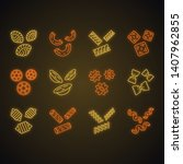 pasta noodles neon light icons... | Shutterstock .eps vector #1407962855