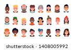 set of diverse people portraits ... | Shutterstock .eps vector #1408005992