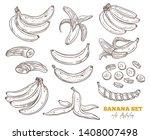 vector sketch bananas various... | Shutterstock .eps vector #1408007498