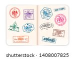 realistic passport pages with... | Shutterstock .eps vector #1408007825