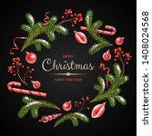 christmas wreath with fir...   Shutterstock .eps vector #1408024568