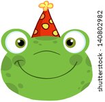 Cute Frog Smiling Head With...