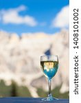 glass of chilled white wine on... | Shutterstock . vector #1408101002