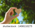 heart shaped wooden plate with... | Shutterstock . vector #1408110275