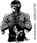 the sketch of muay thai fighter   Shutterstock .eps vector #1408113755