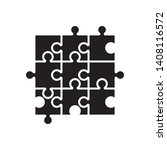 puzzle icon  black isolated on... | Shutterstock .eps vector #1408116572