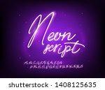 neon script font. handwriting... | Shutterstock .eps vector #1408125635
