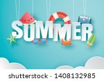 hello summer with decoration... | Shutterstock .eps vector #1408132985