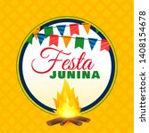 festa junina bonfire background ...   Shutterstock .eps vector #1408154678