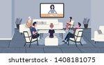 businesspeople doing video...   Shutterstock .eps vector #1408181075
