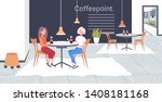 two girls discussing during... | Shutterstock .eps vector #1408181168