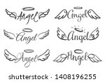 Angels Wings Emblems. Feather...